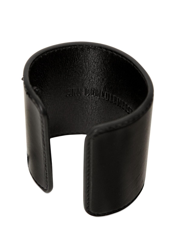 Ann Demeulemeester Leather Cuff Bracelet In Black For Men