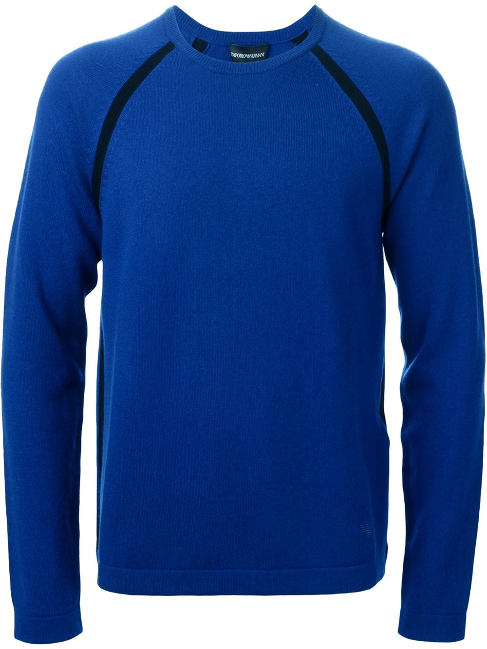 emporio armani crew neck sweater in blue for men lyst. Black Bedroom Furniture Sets. Home Design Ideas