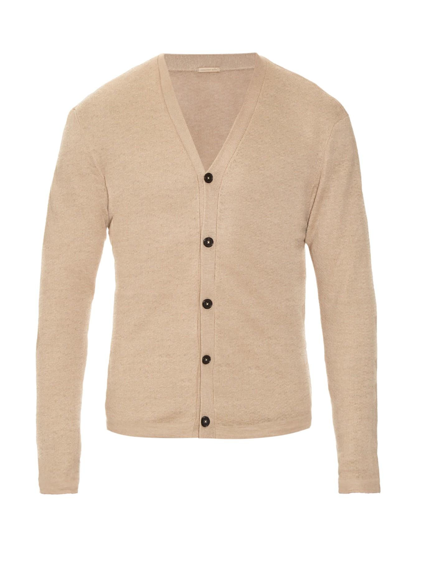 Men In Natural Sleeved Alba Massimo Knit Lyst For Linen Long Cardigan I6bmf7Yygv
