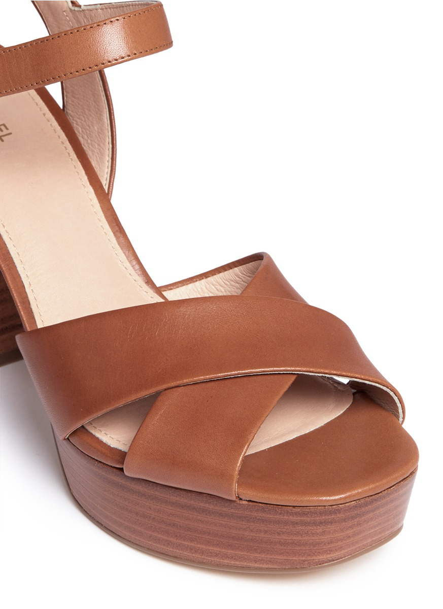 33e77ef19337 Lyst - Michael Kors  divia  Leather Platform Sandals in Brown