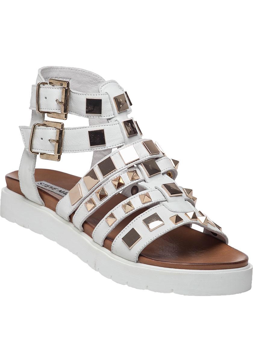 lyst steve madden bettee leather caged sandal in white. Black Bedroom Furniture Sets. Home Design Ideas