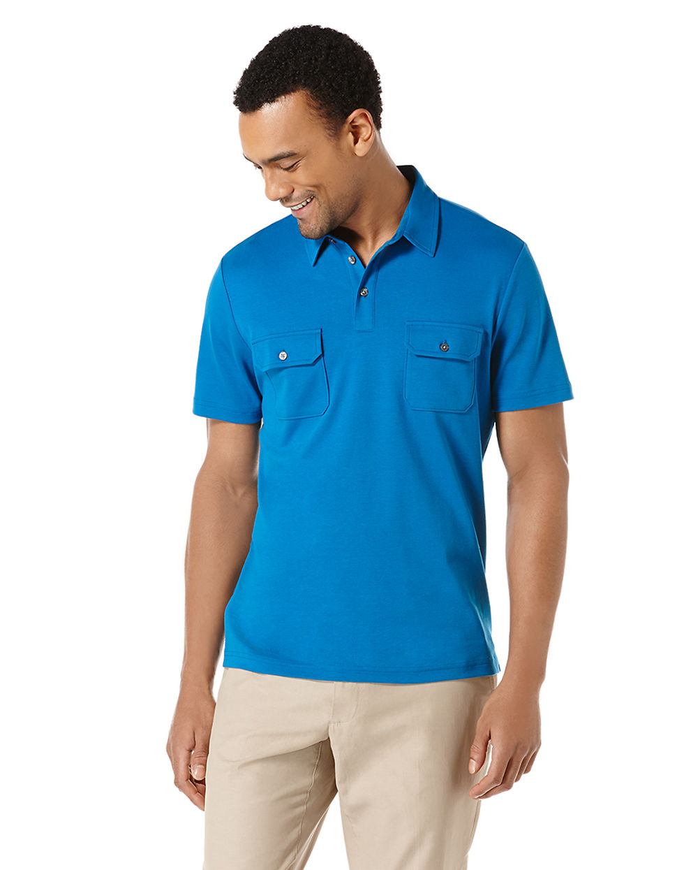 Perry ellis flap pocket polo shirt in blue for men lyst for Two pocket polo shirt