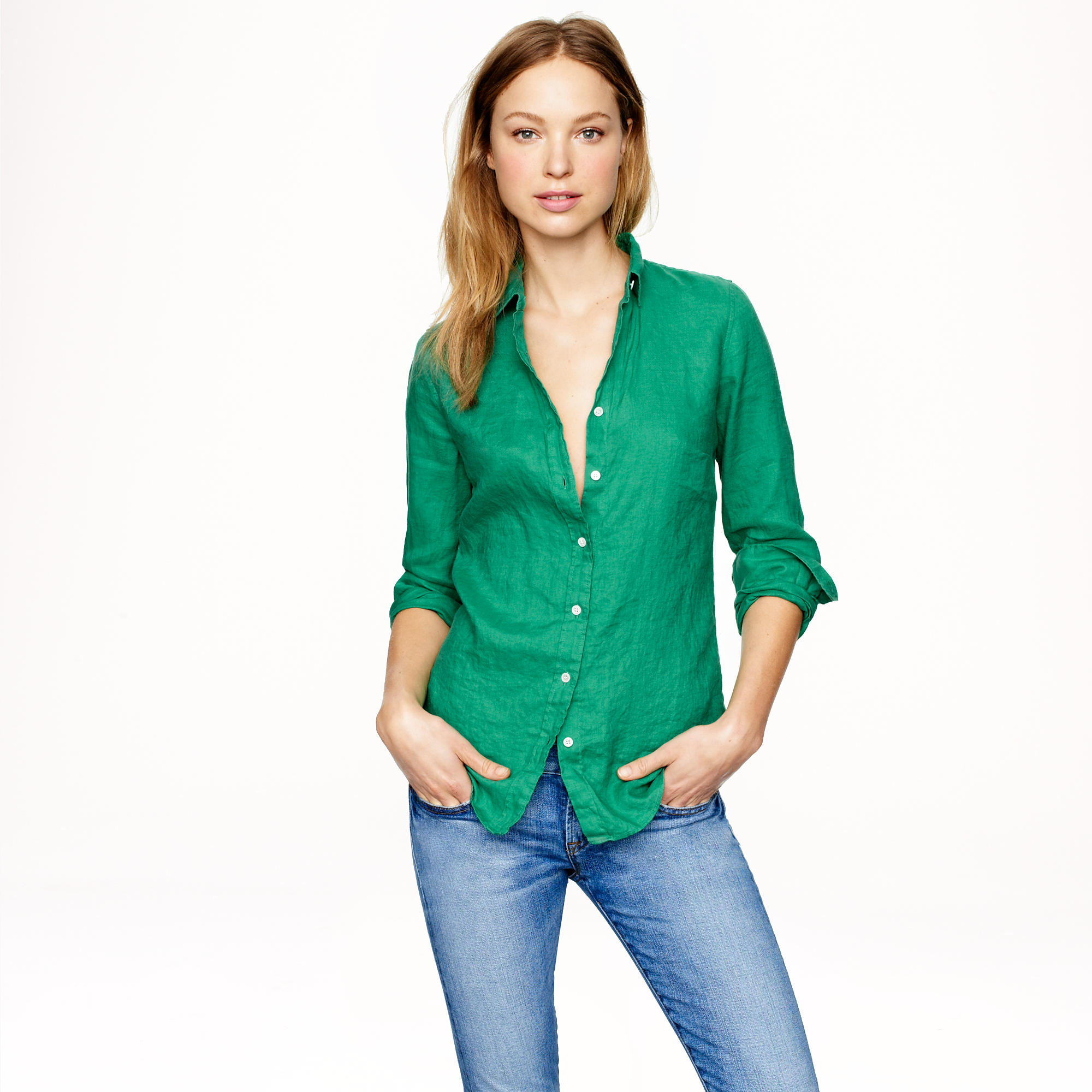 Lyst J Crew Tall Perfect Shirt In Linen In Green