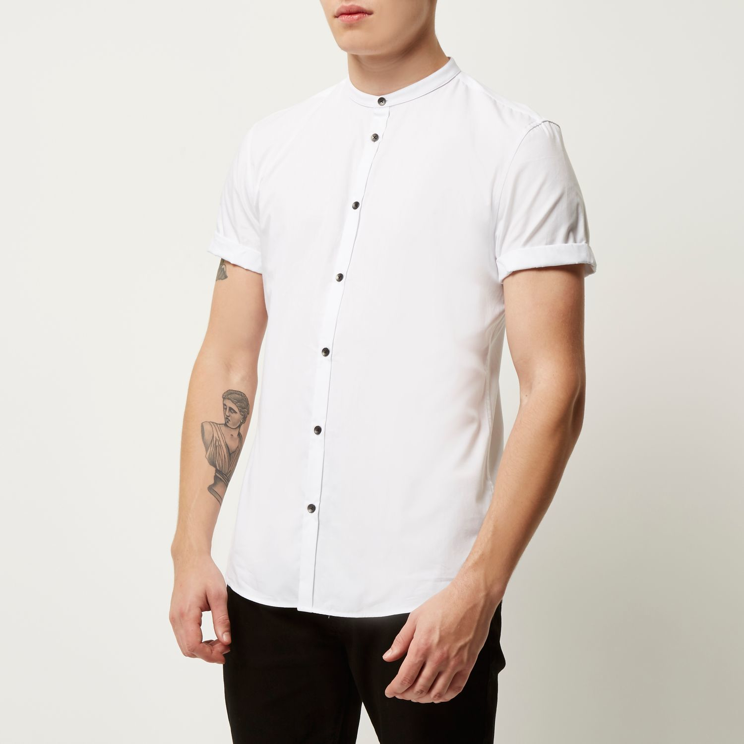 River island white short sleeve grandad slim shirt in for Short sleeve grandad shirt