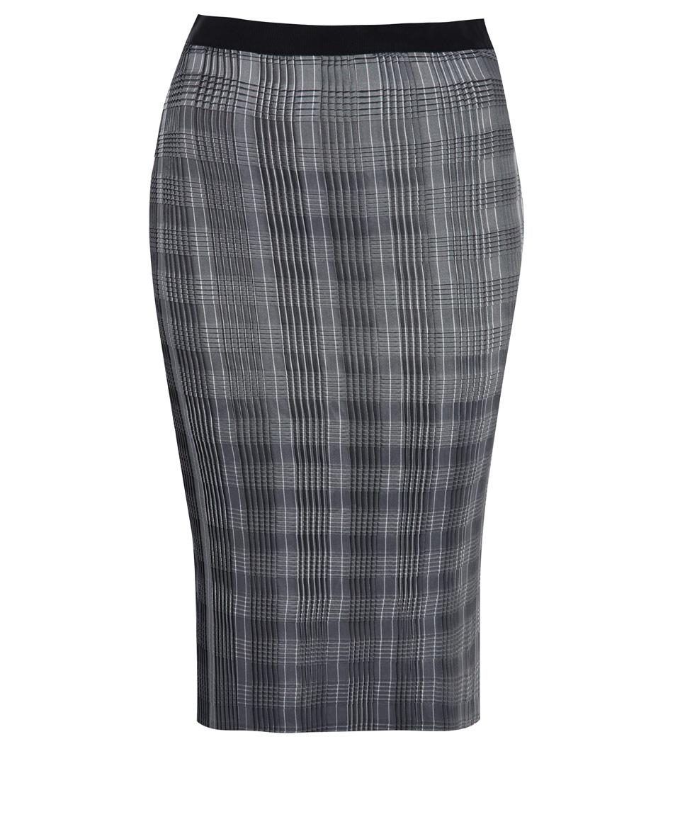 wang pin stripe technical pleat pencil skirt in
