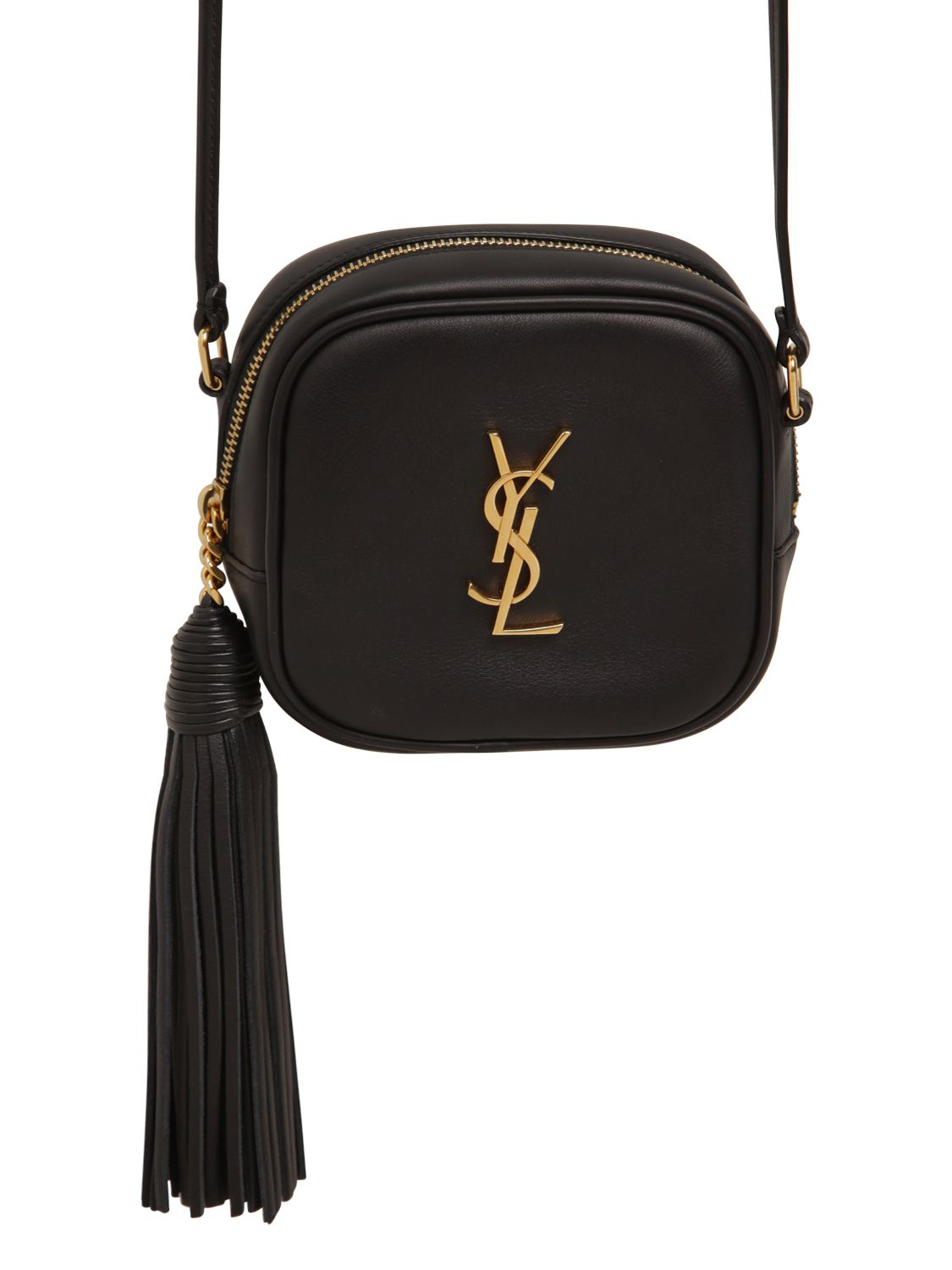 Saint laurent Monogram Leather Shoulder Bag W/ Tassel in Black | Lyst