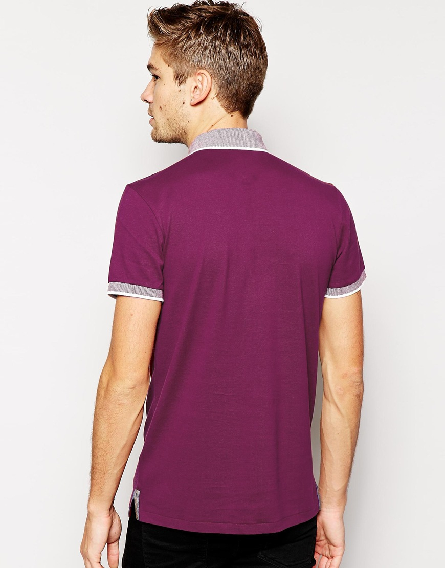 Boss Orange Polo Shirt With Contrast Collar In Purple For
