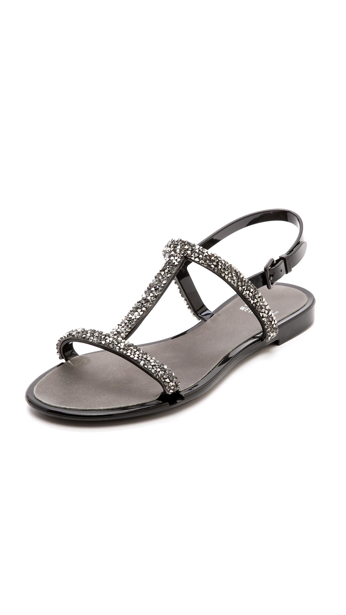 Stuart Weitzman Teezer Glitter T Strap Jelly Sandals In