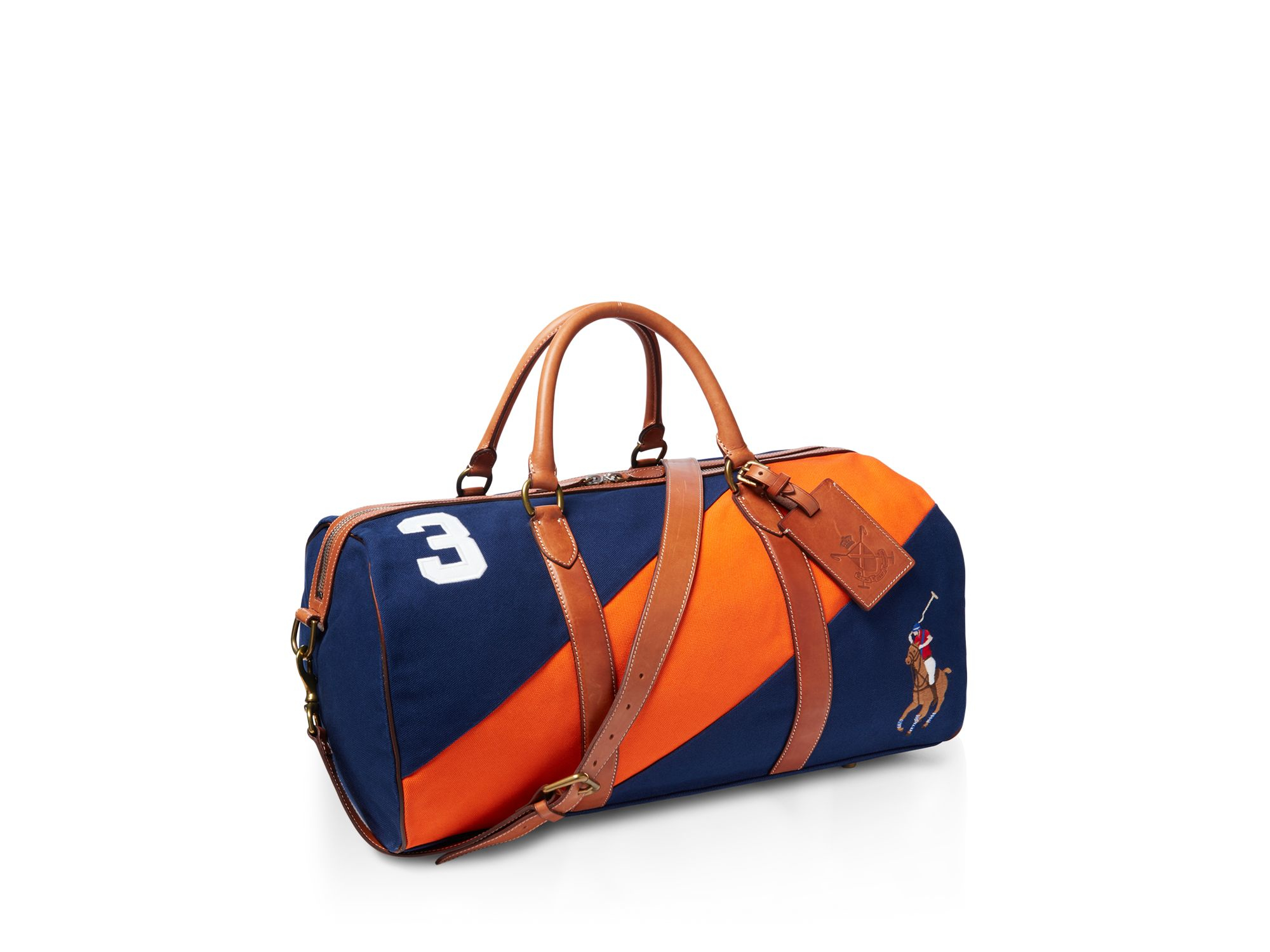 Ralph lauren Polo Canvas Blackwatch Tote in Orange (Navy/Orange) | Lyst