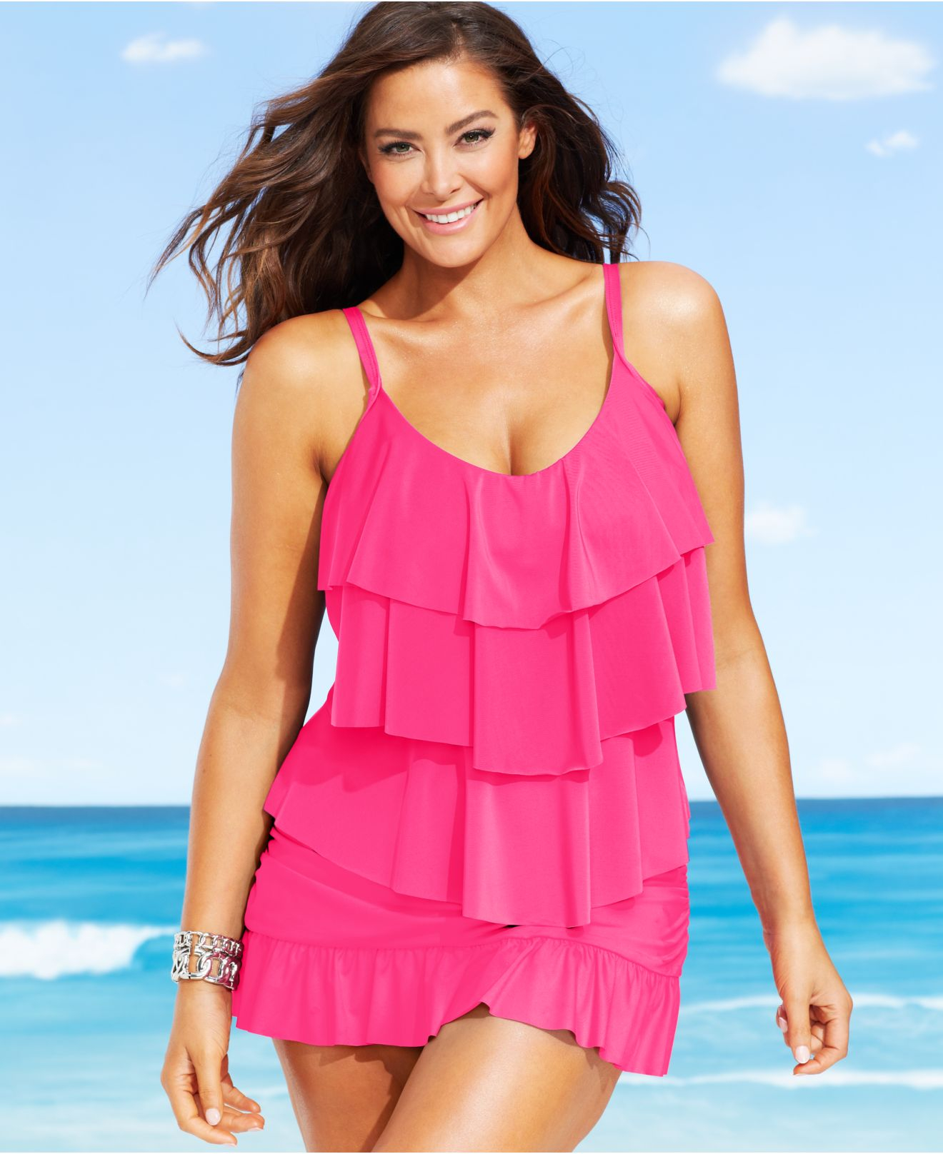 70a14b22dad1c Lyst - Kenneth Cole Reaction Plus Size Tiered Ruffle Tankini Top in Pink