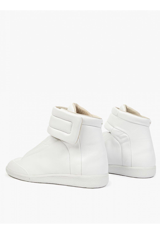Maison margiela 22 white leather future hi top sneakers for Maison margiela 22