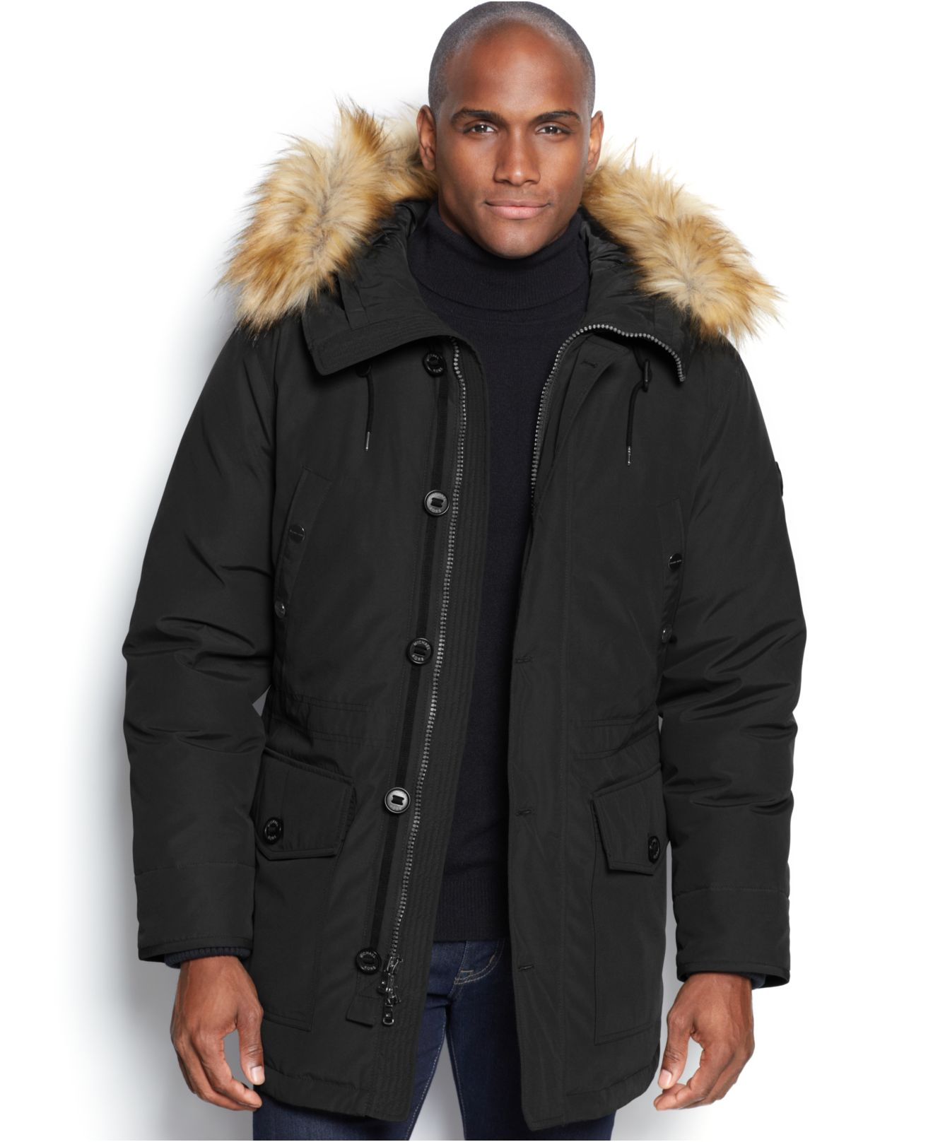 lyst michael kors michael mandal faux fur trim hooded down parka in black for men. Black Bedroom Furniture Sets. Home Design Ideas