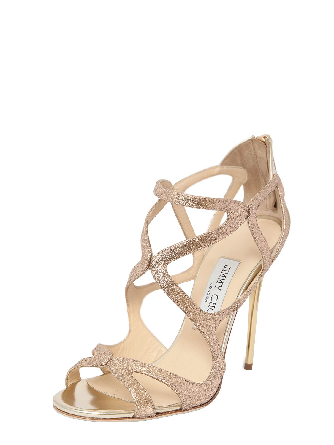 1a3fce55b521 ... purchase lyst jimmy choo 110mm leslie glitter sandals in metallic 0f9de  0db24