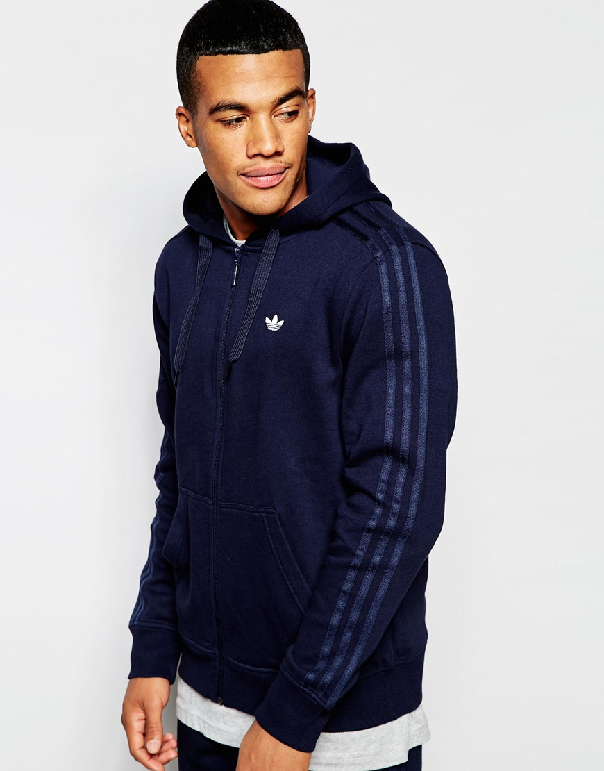 adidas originals blue zip hoodie
