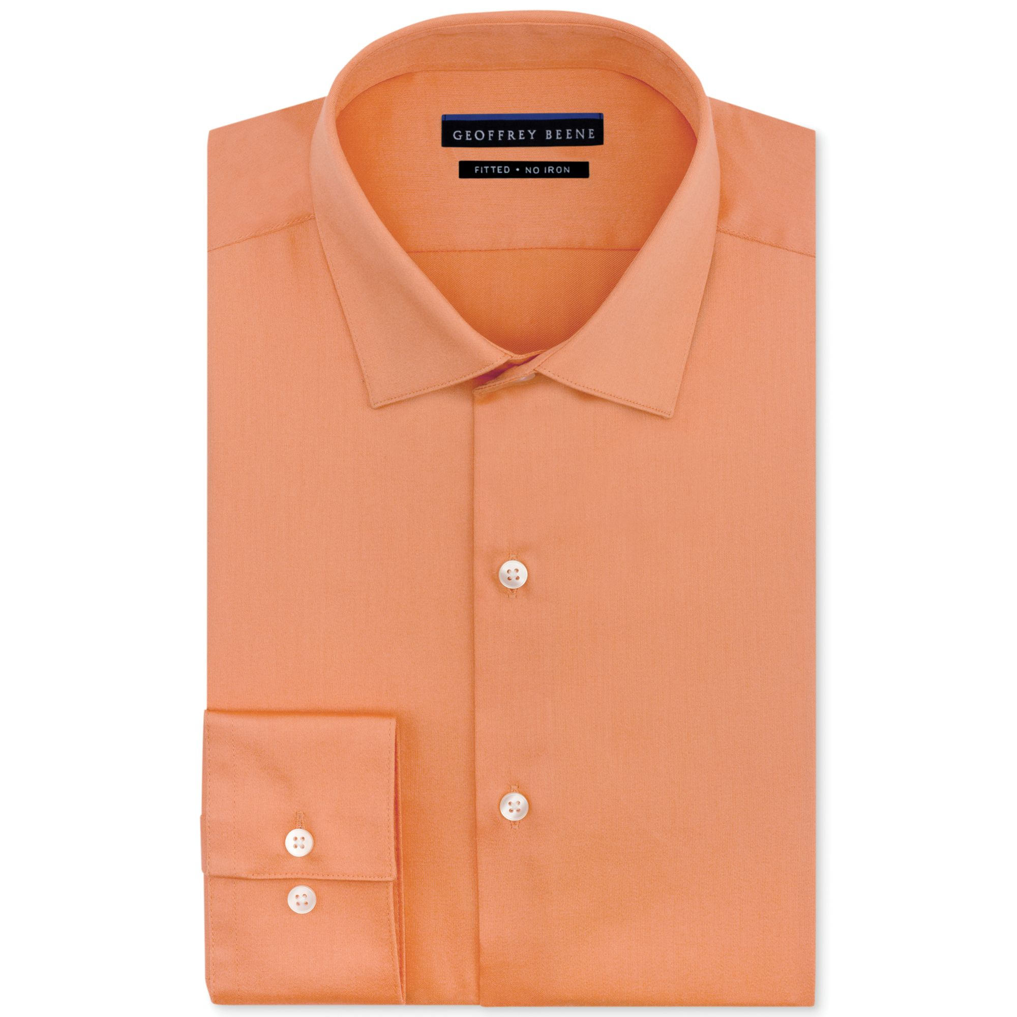 Lyst Geoffrey Beene Noniron Sateen Solid Dress Shirt In Orange For Men