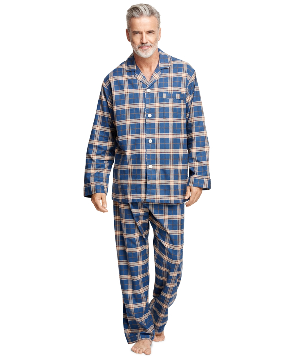 Brooks brothers Plaid Flannel Pajamas in Blue for Men | Lyst