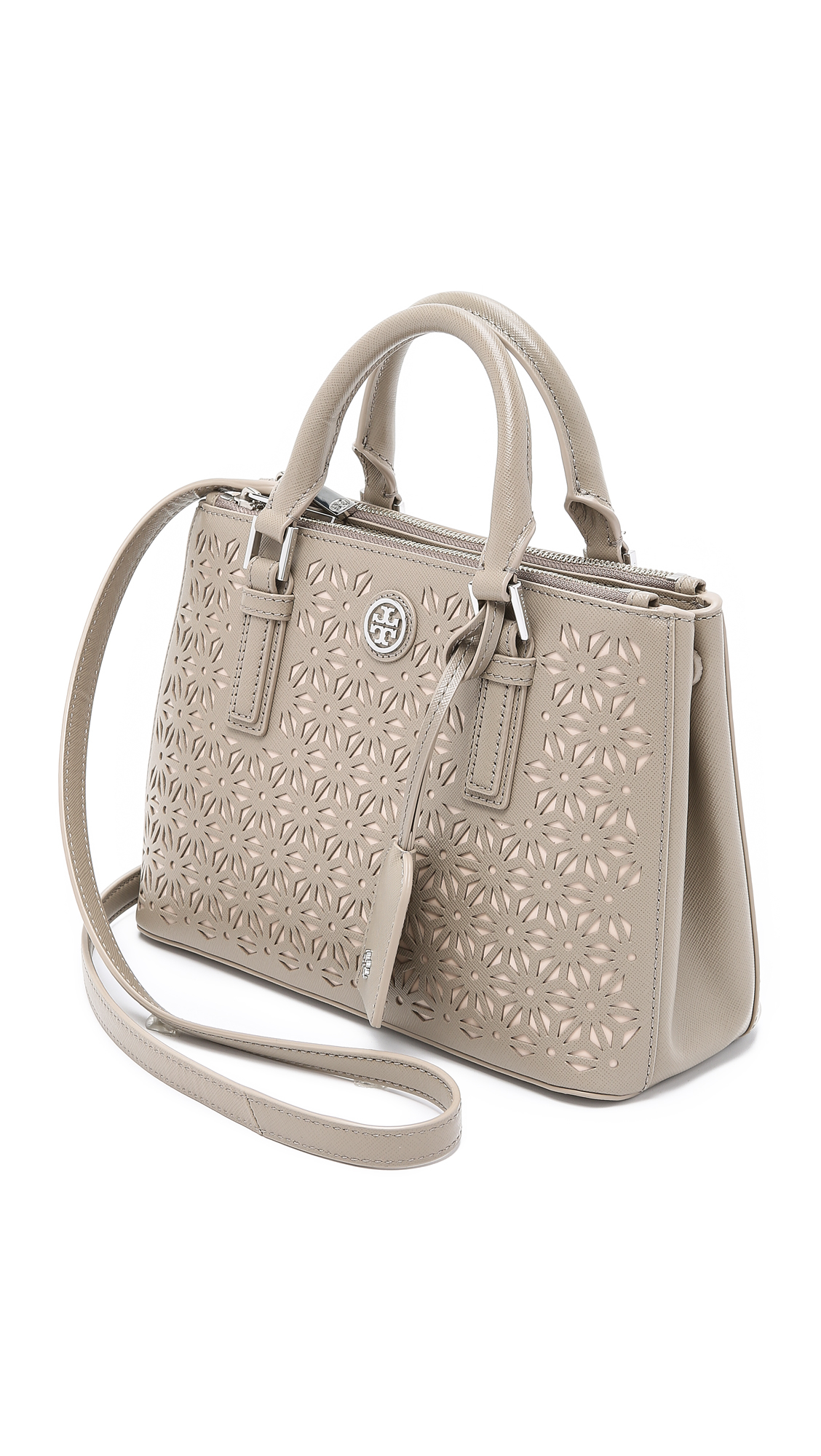 c2458671f0bc ... germany lyst tory burch robinson micro double zip satchel french grey  in c4a26 b35c5