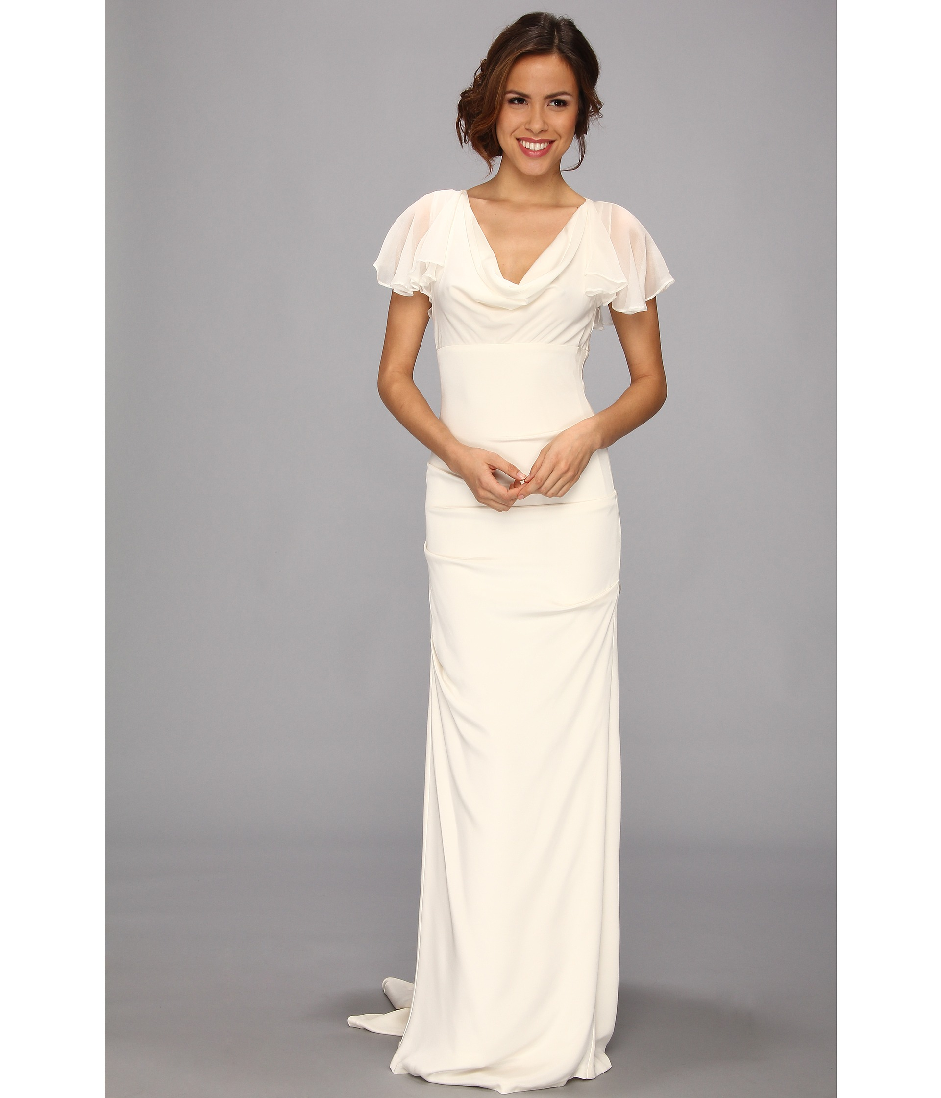 Nicole Miller Silk Stretch Flutter Sleeve Bridal Gown In