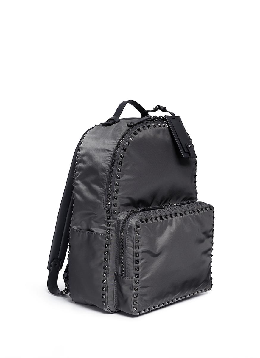Valentino Solid Black Rockstud Nylon Backpack SKE9m3OlX