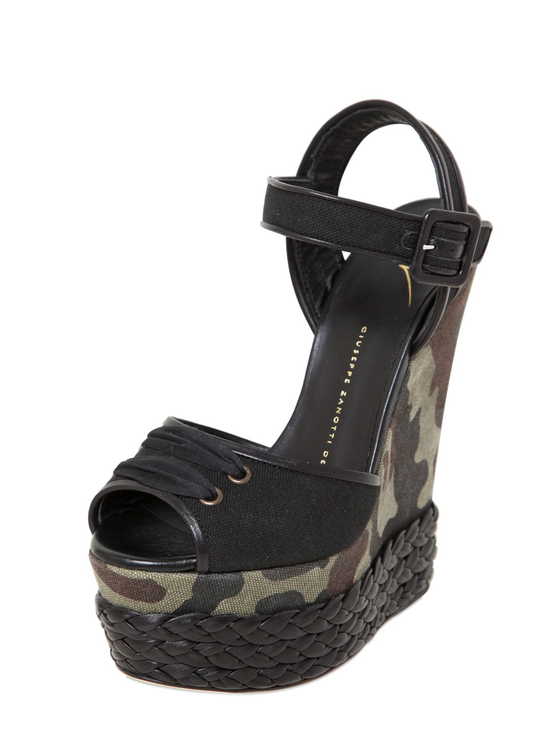 Lyst Giuseppe Zanotti 150mm Camo Cotton Amp Leather Wedges