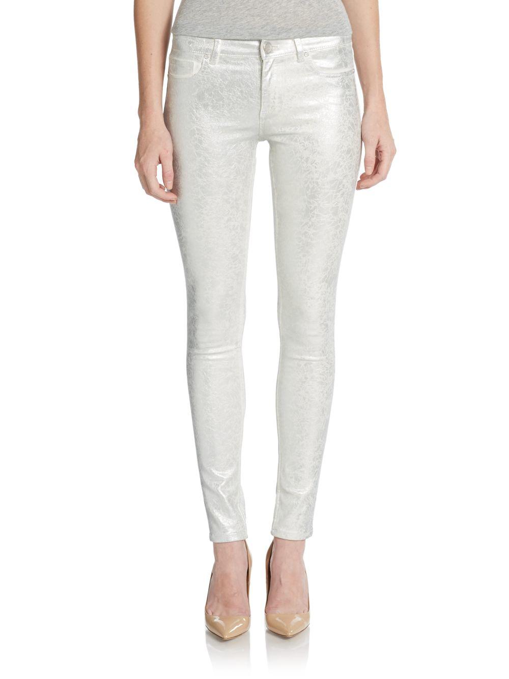 Elie tahari Azella Coated Metallic Skinny Jeans in White   Lyst