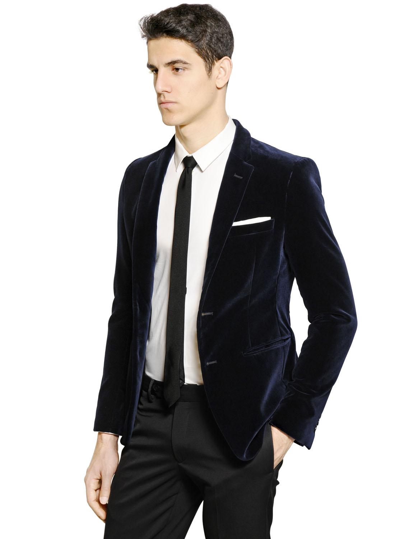 Lyst - Emporio Armani Velvet Jacket In Blue For Men