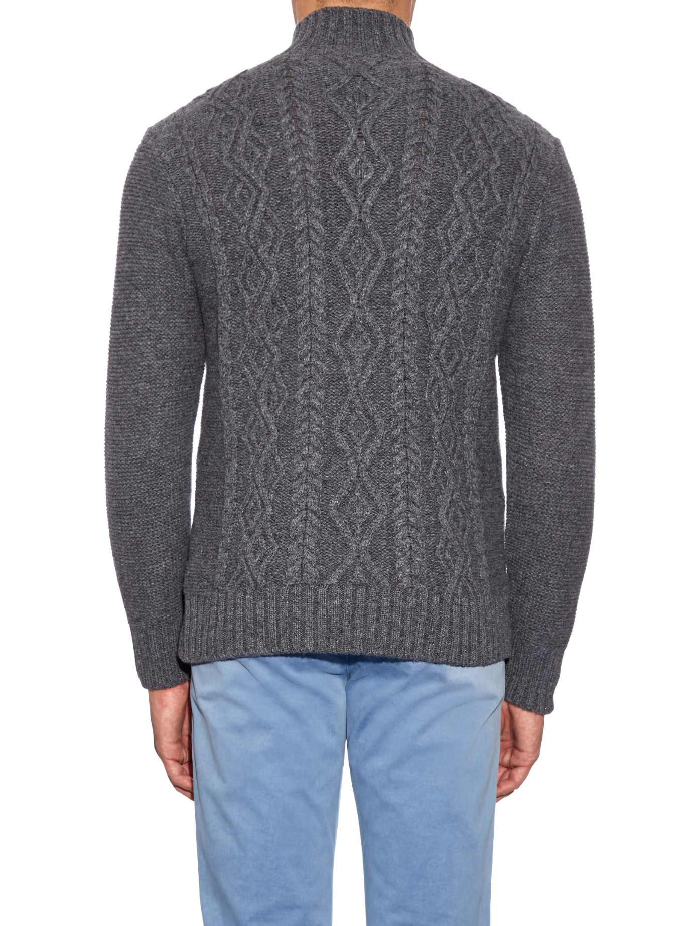 Inis me in aran knit merino wool sweater in gray for men for Inis crafts ireland sweater