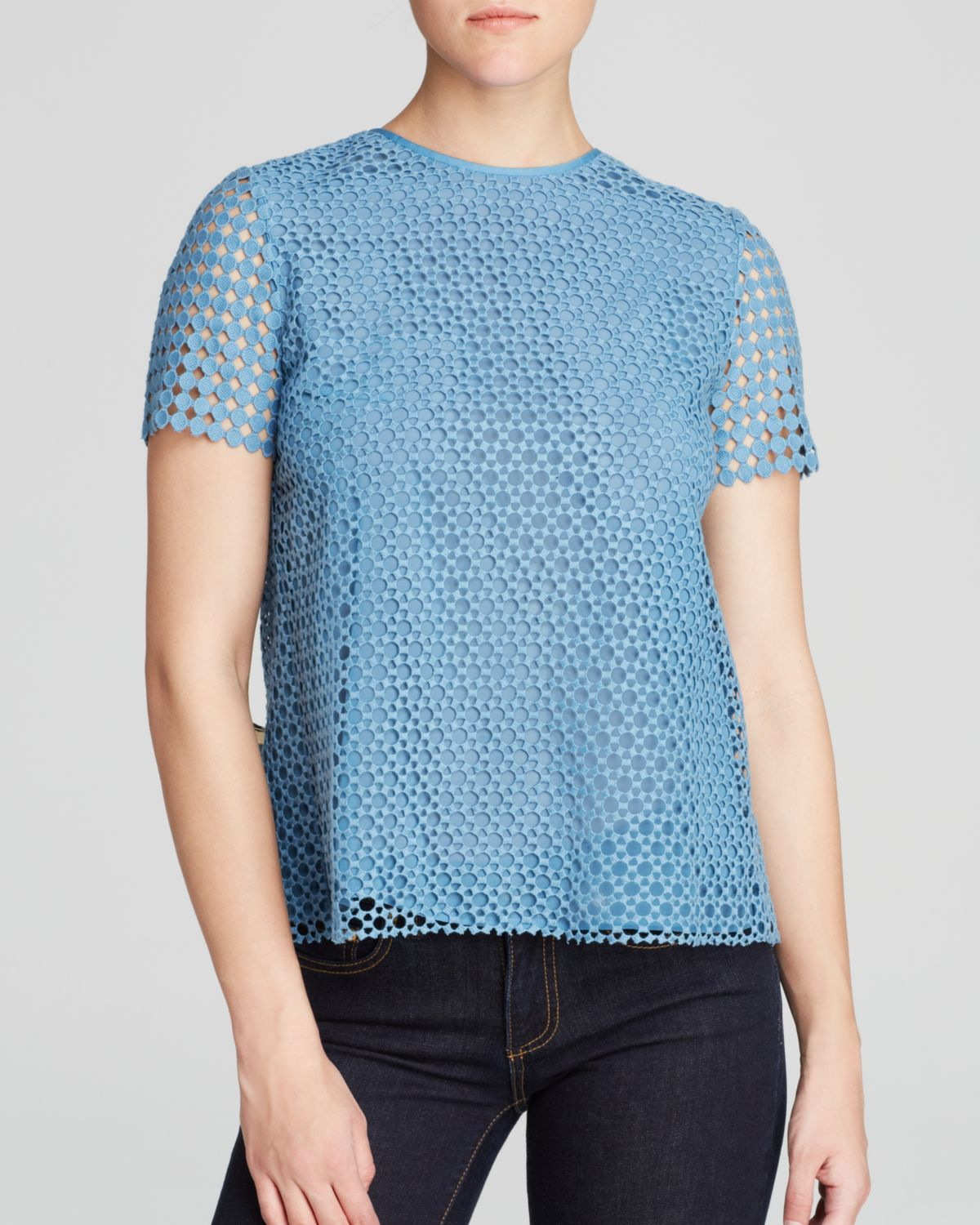 Tory burch crescent guipure tee in blue gulf shore lyst for Tory burch fashion island