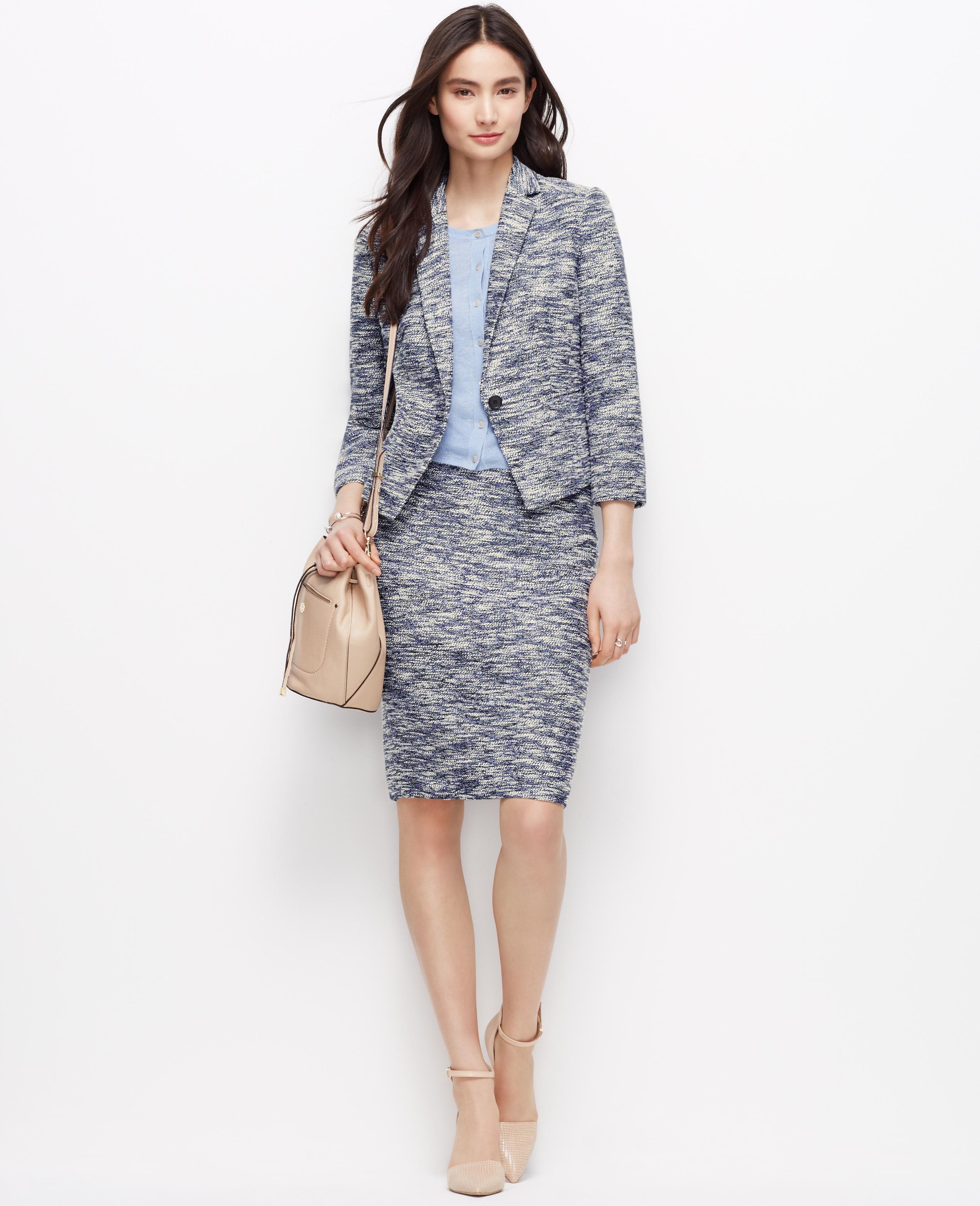 Ann taylor Petite Tweed Suit Jacket in Blue | Lyst
