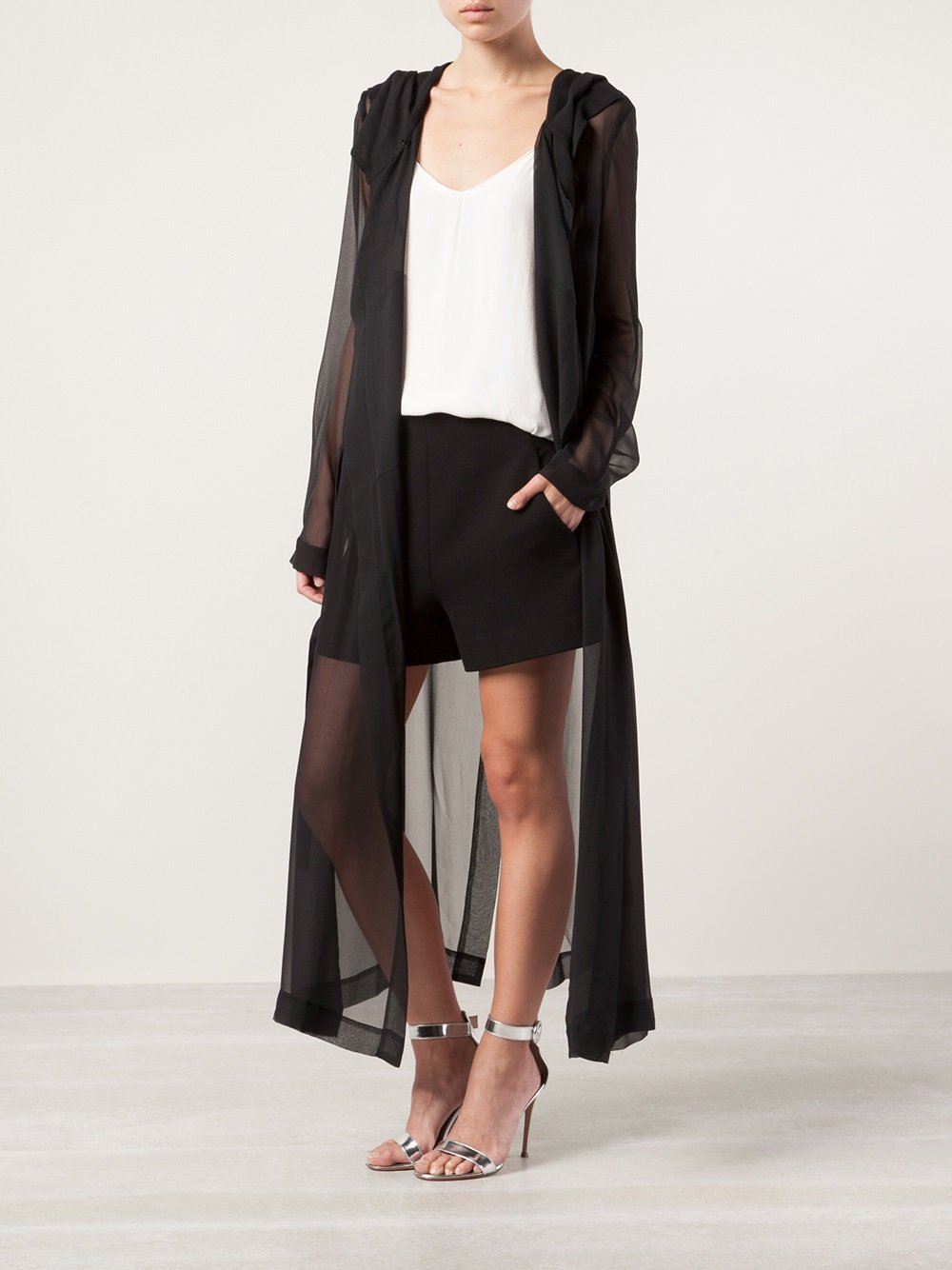 Lyst Plein Sud Sheer Hooded Jacket In Black