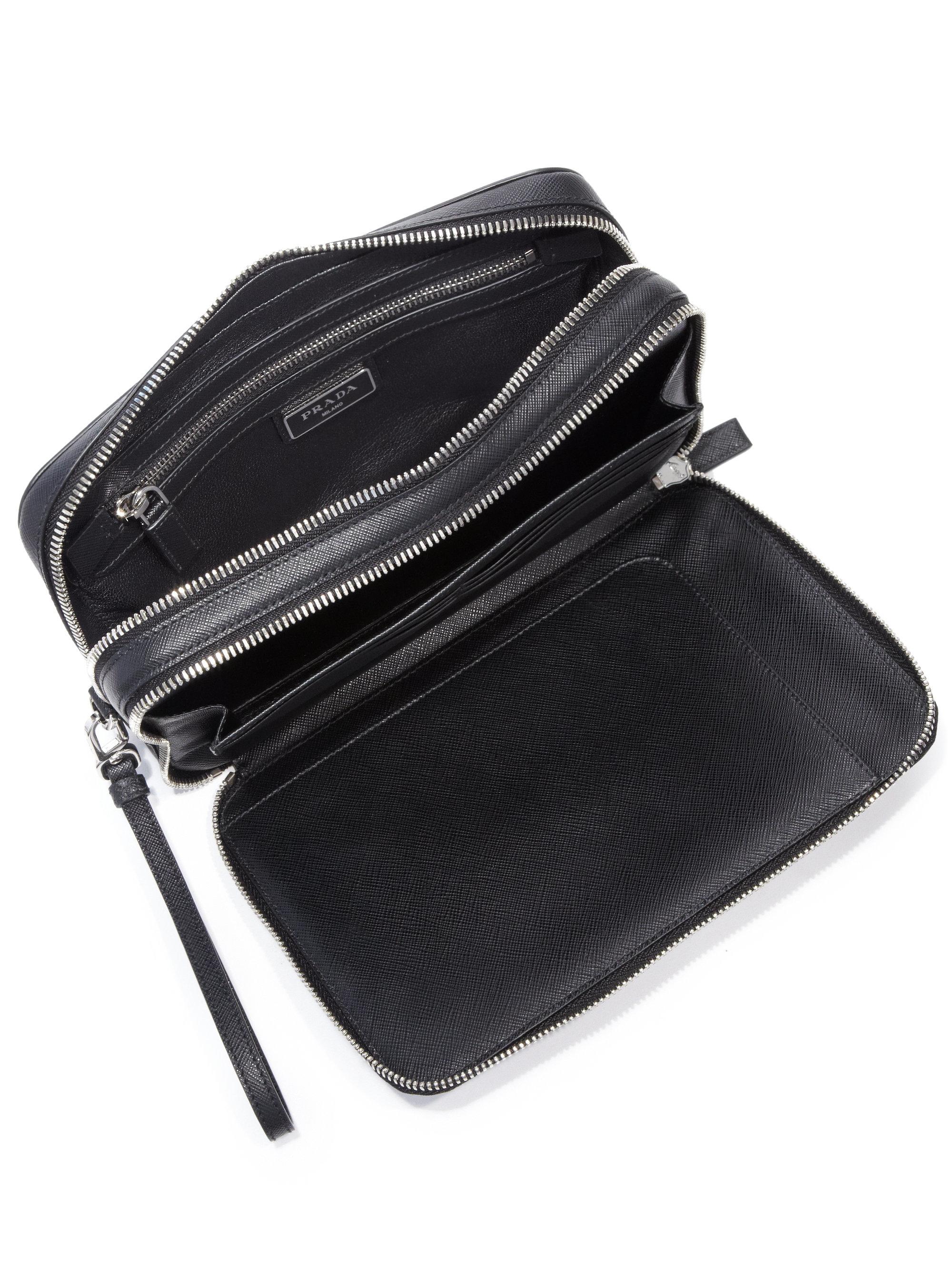 60e7056d5c4803 ... closeout lyst prada saffiano leather travel wallet in black for men  9c66e 816b2