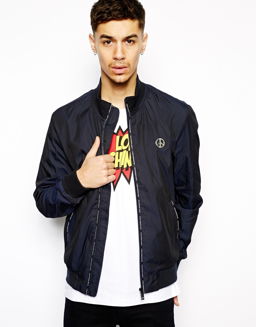 480746b4d5312 Love Moschino Bomber Jacket in Blue for Men - Lyst
