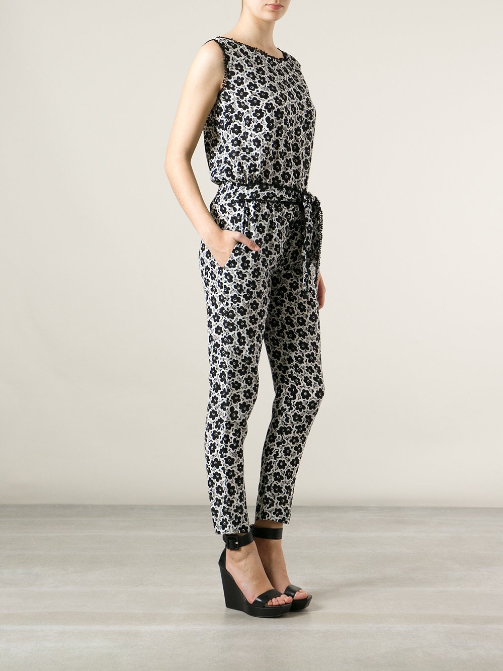 213cdc252d Love Moschino Flower Print Jumpsuit in Gray - Lyst