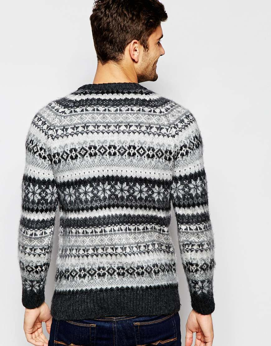 Selected Brushed Fair Isle Knitted Jumper in Gray for Men | Lyst