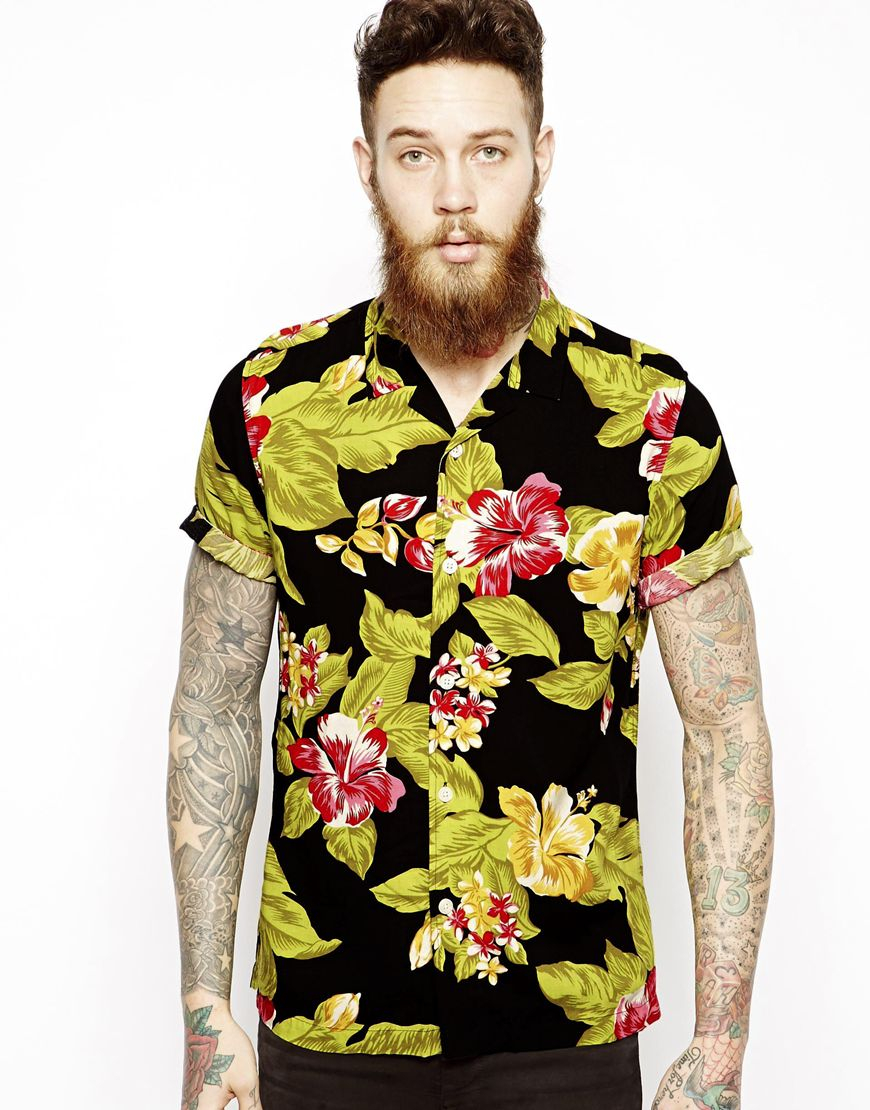Lyst asos hawaiian shirt in short sleeve with floral for Mens slim hawaiian shirt