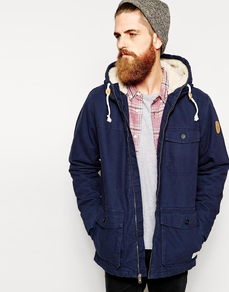 Quiksilver Parka With Sherpa Lined Hood in Blue for Men | Lyst