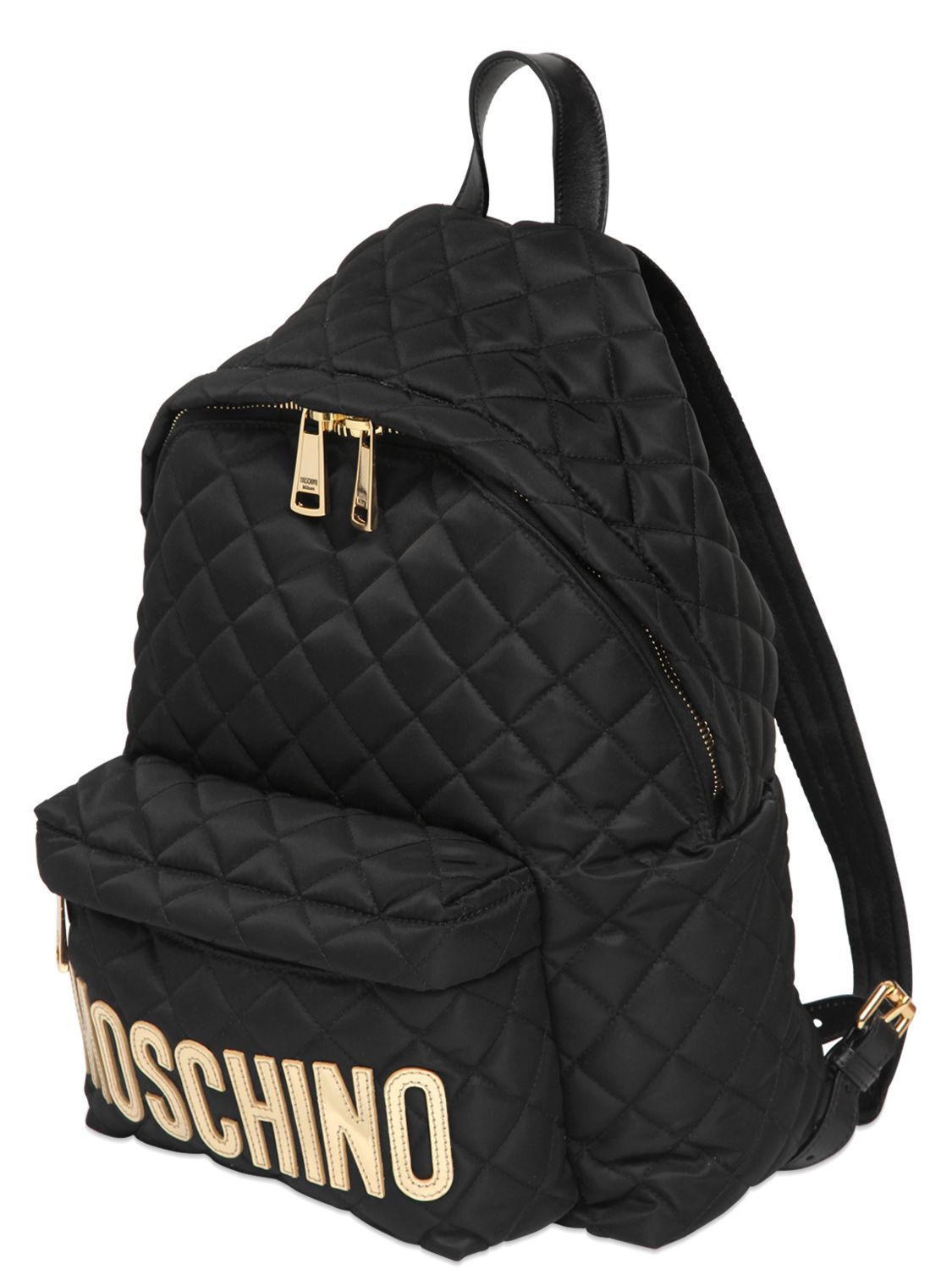 Moschino Quilted Nylon Backpack With Logo In Black Lyst