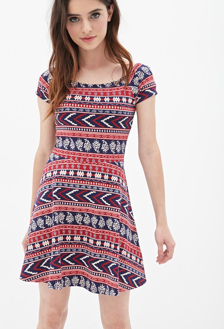 0485169f3a2 Forever 21 Print Skater Dress - Lyst