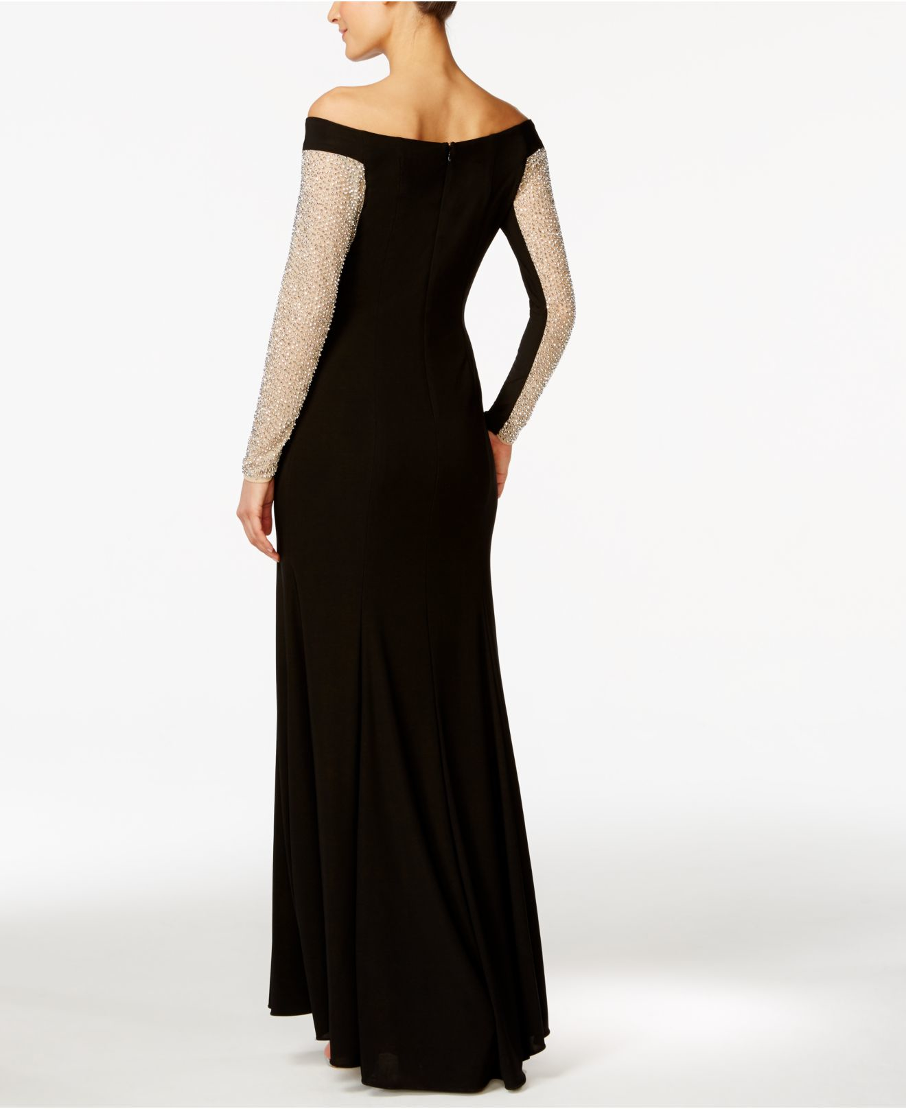 xscape the shoulder beaded illusion gown in black