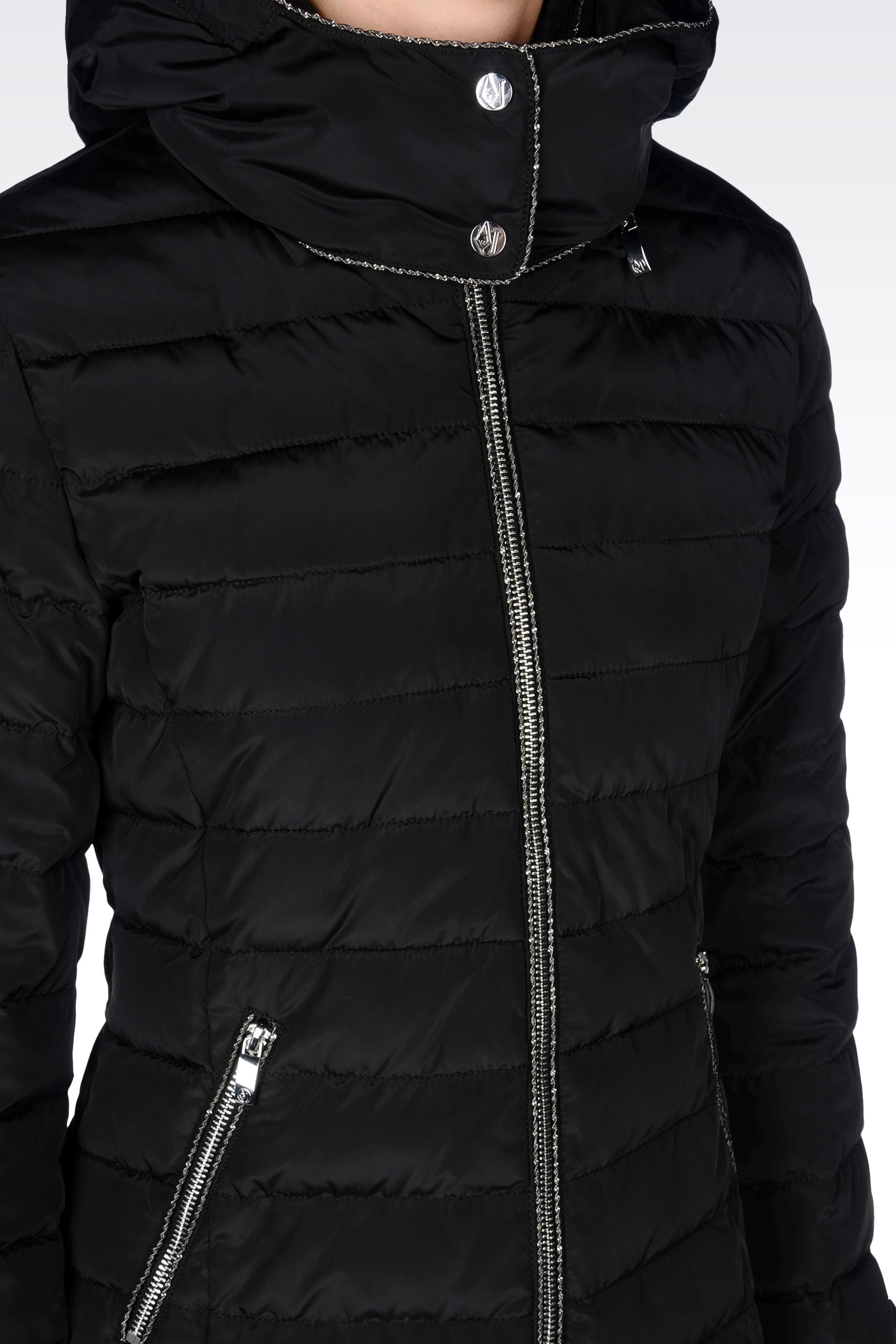 Lyst Armani Jeans Hooded Down Jacket In Technical Fabric