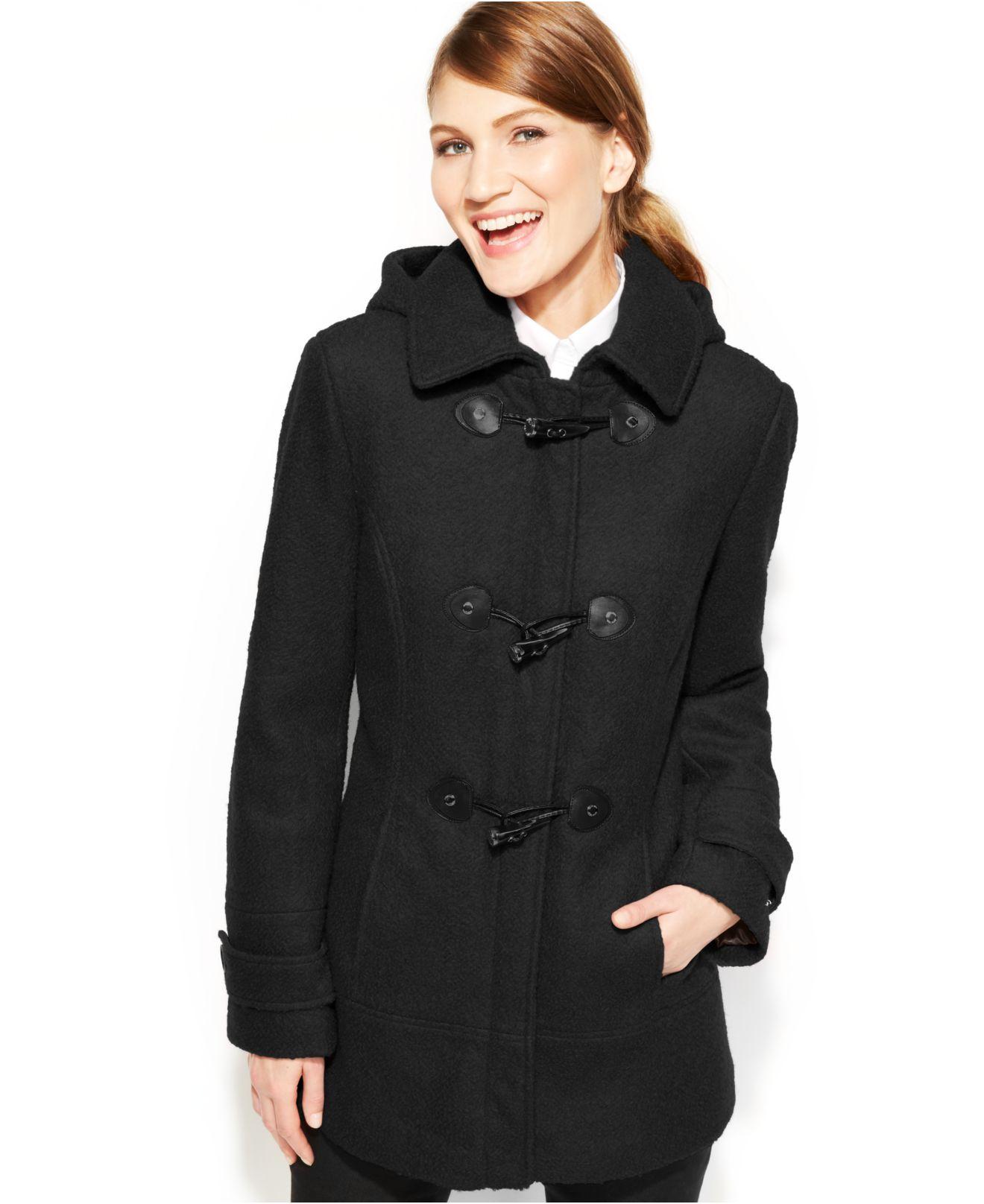 Calvin klein Petite Toggle Wool-Blend Coat in Black | Lyst