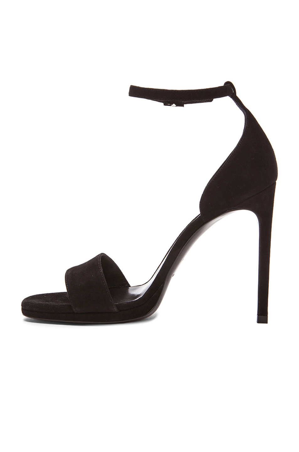 Lyst - Saint Laurent Jane Suede Sandals in Black 797486f2f03e