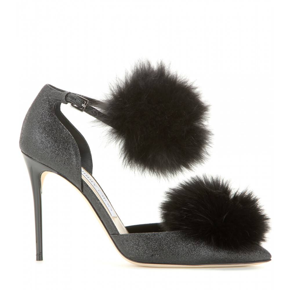53c59915649 Lyst - Jimmy Choo Dolly 100 Glitter And Fur-trimmed Pumps in Black