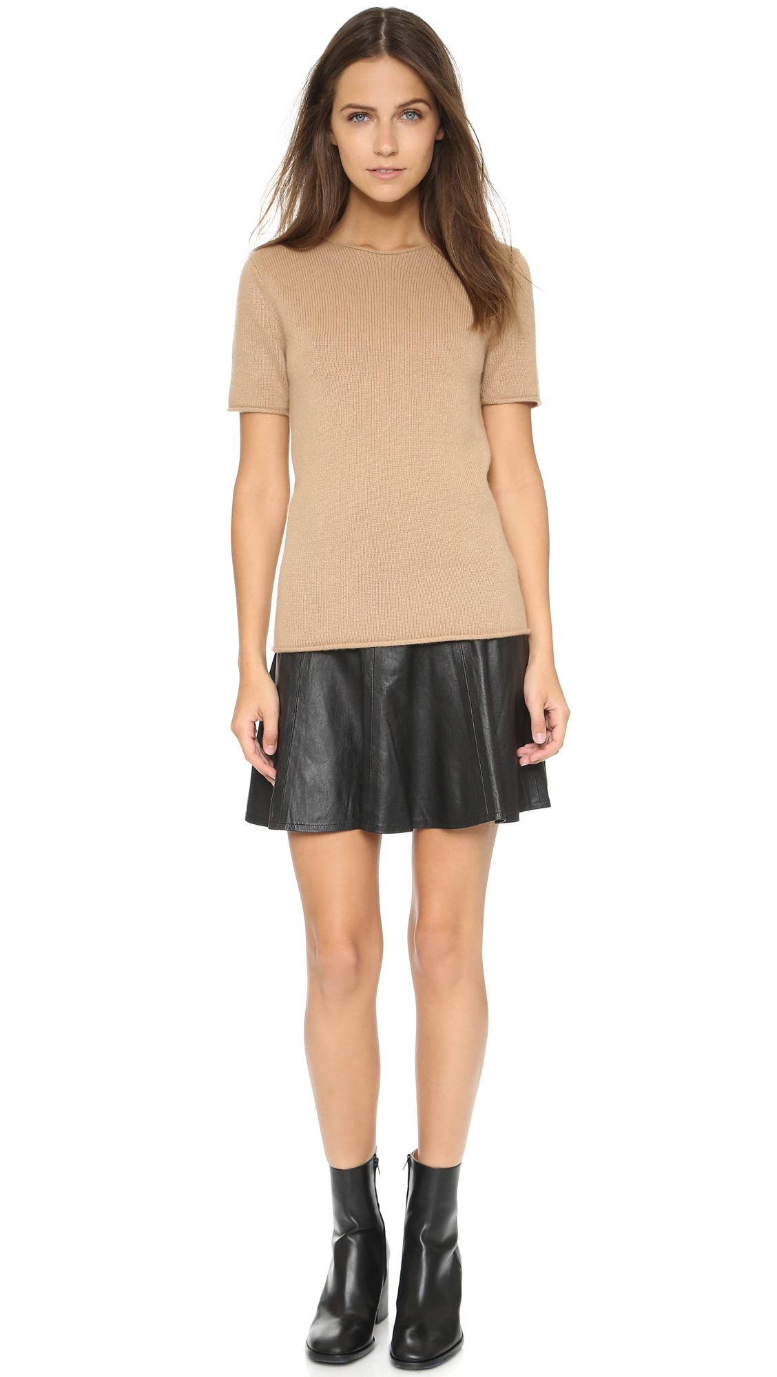 Theory Cashmere Tolleree Short Sleeve Sweater in Natural | Lyst