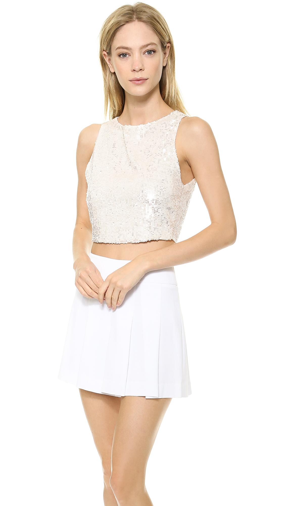 e207a53ffa6505 Alice + Olivia Alice Olivia Pire Sequin Crop Top White in White - Lyst
