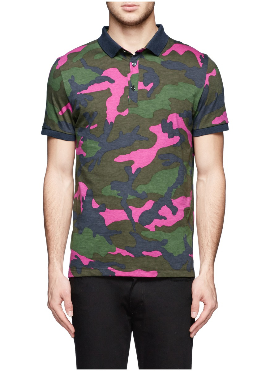 Valentino fluo camouflage print polo shirt for men lyst for Camo polo shirts for men