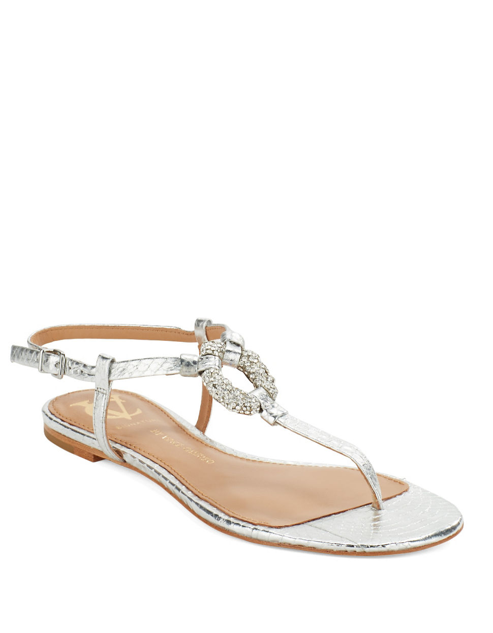 Lyst Vince Camuto Signature Bolda Thong Sandals In Metallic