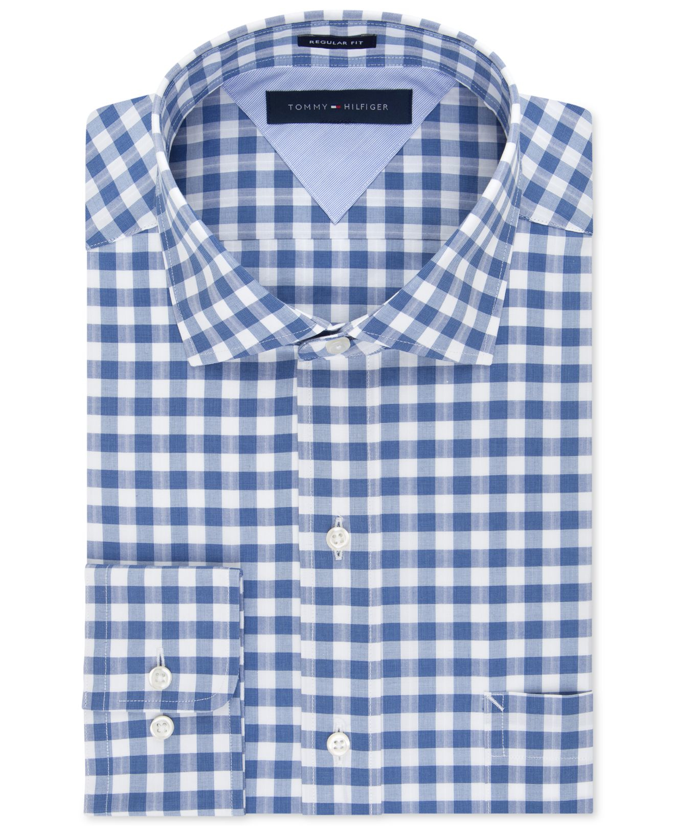 tommy hilfiger easy care indigo gingham dress shirt in