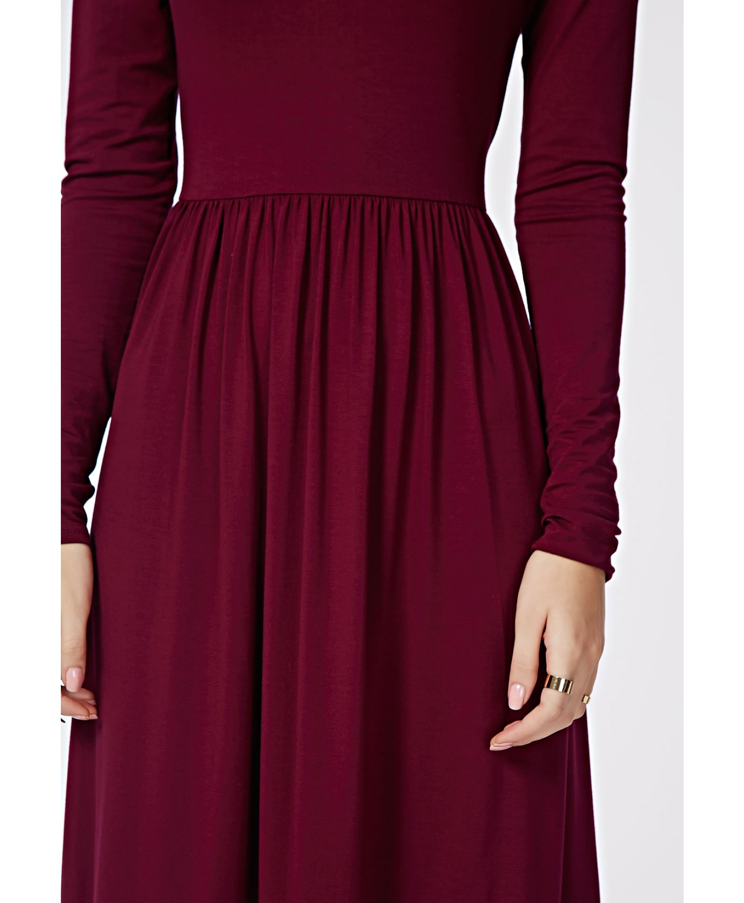 d843eb8c7a8 Missguided Tilda Long Sleeve Jersey Midi Dress Oxblood in Purple - Lyst