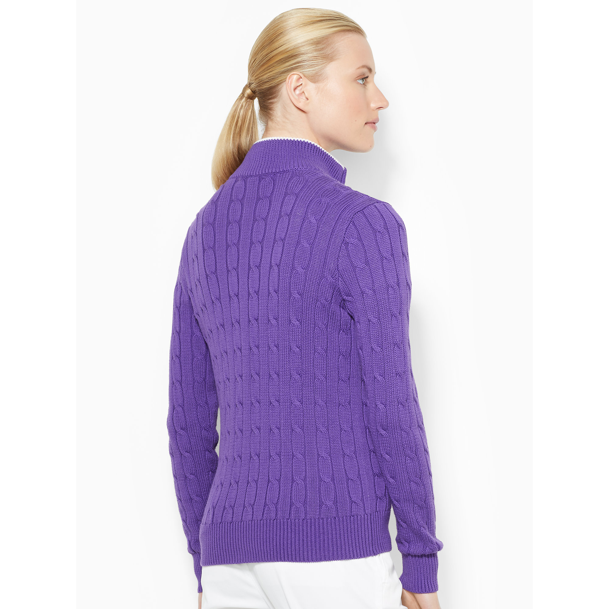 Ralph lauren golf Cable-Knit Zip-Up Sweater in Purple | Lyst
